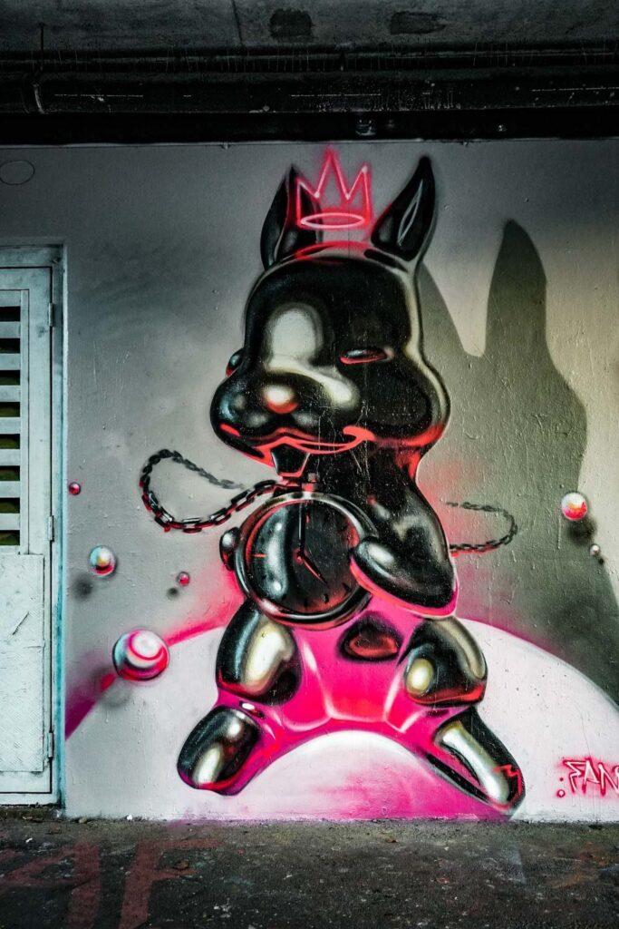 3d style street art rabbit