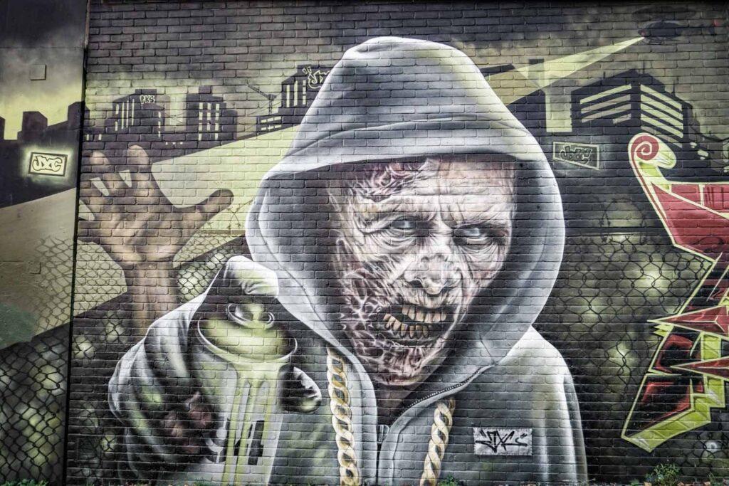 rotting zombie street art