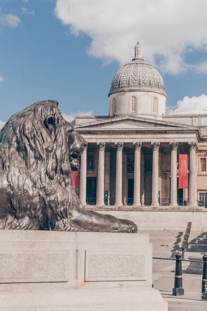 The National Gallery and Trafalgar Square Lions
