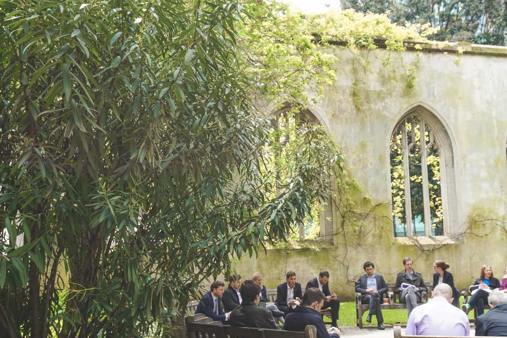 Diners sitting at the church garden
