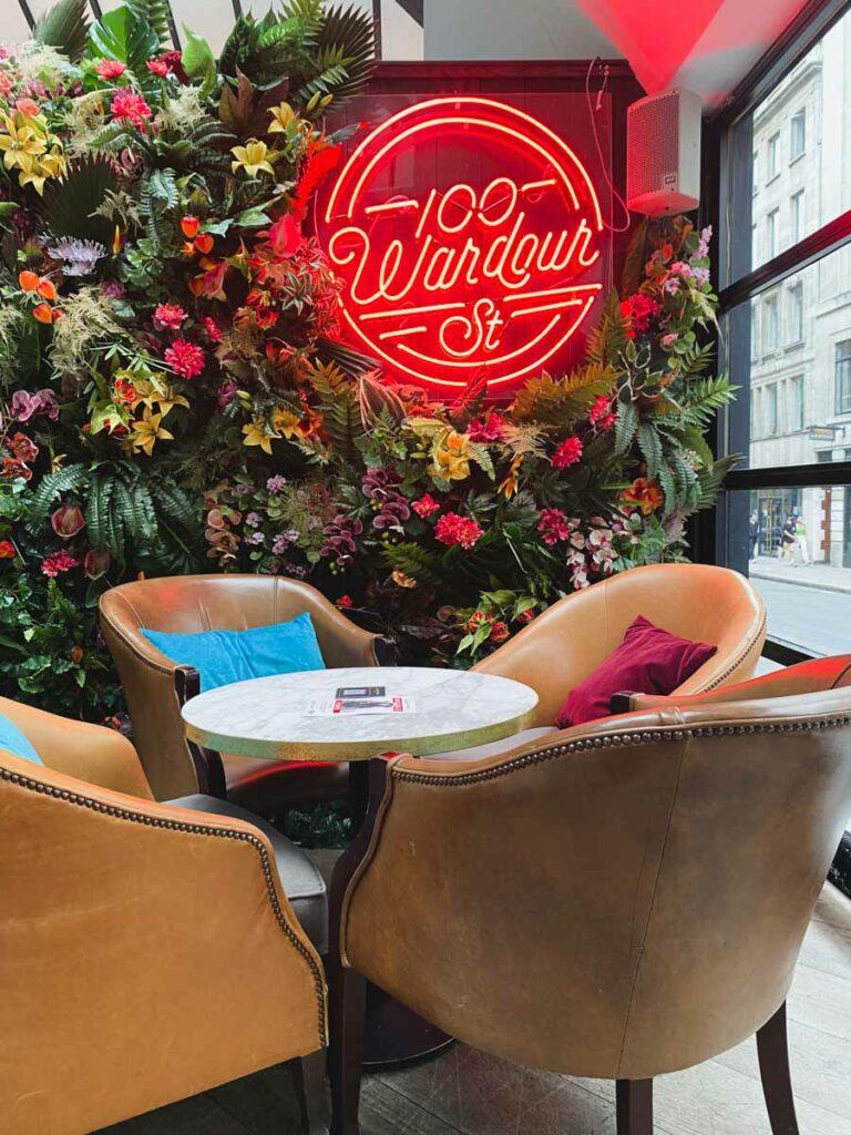 100 Wardour Street Bar in Soho