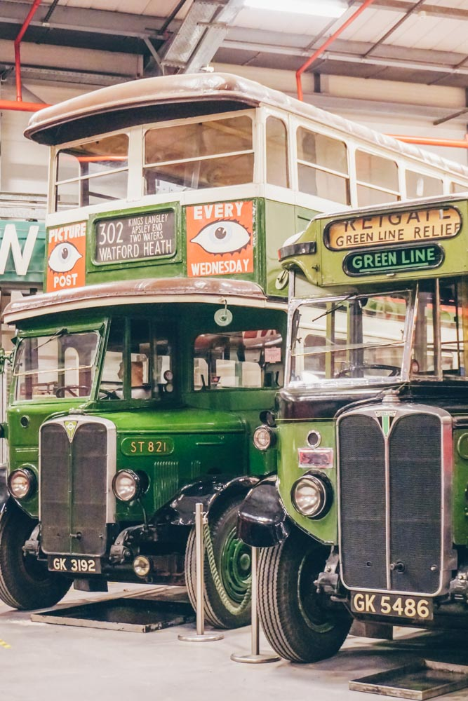 Green buses at the depot
