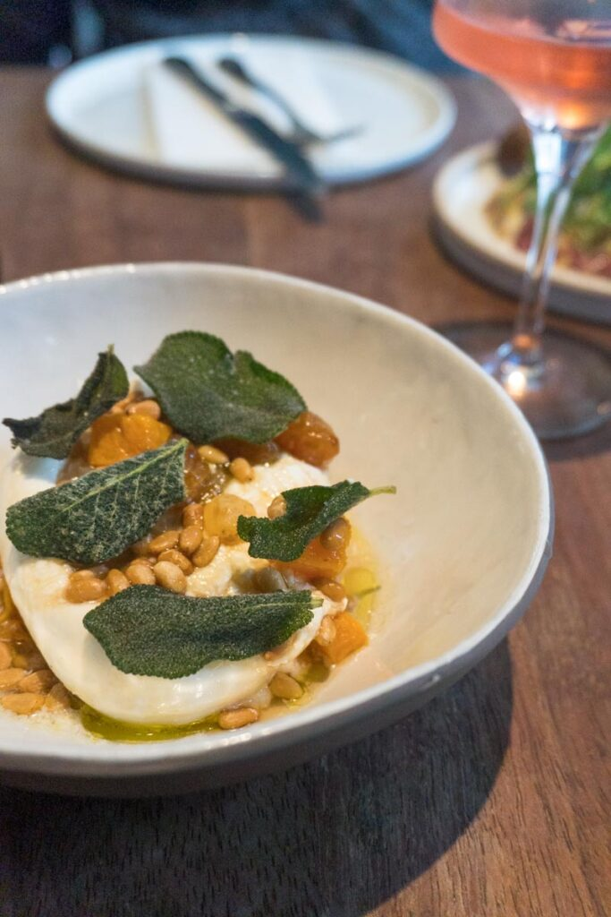 Burrata with Butternut Squash and Pine Nuts