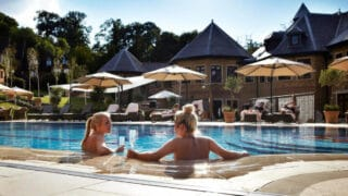 Relaxing in the sun at Pennyhill Park hotel spa near London